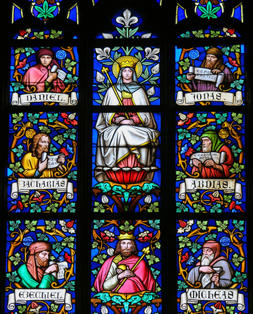 new testament: PRAGUE, CZECH REPUBLIC - APRIL 2, 2016: Stained Glass window in St. Vitus Cathedral, Prague, depicting Mother Mary and the Prophets Daniel, Jonah, Zachary, Ezekiel, Micheas and Abdias.