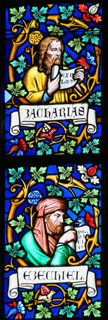 seer: PRAGUE, CZECH REPUBLIC - APRIL 2, 2016: Stained Glass window in St. Vitus Cathedral, Prague, depicting the Prophets Zechariah and Ezekiel