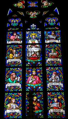 the prophets: PRAGUE, CZECH REPUBLIC - APRIL 2, 2016: Stained Glass window in St. Vitus Cathedral, Prague, depicting Mother Mary and various Prophets.