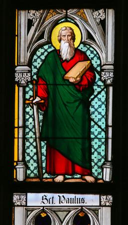 paulus: PRAGUE, CZECH REPUBLIC - APRIL 2, 2016: Stained Glass window in St. Vitus Cathedral, Prague, depicting Saint Paul