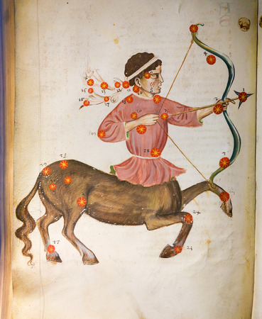 belief system: PRAGUE, CZECH REPUBLIC - APRIL 4, 2016: Depiction of the constellation Sagittarius in an antique astrology text in the Library of Prague, Czech Republic.