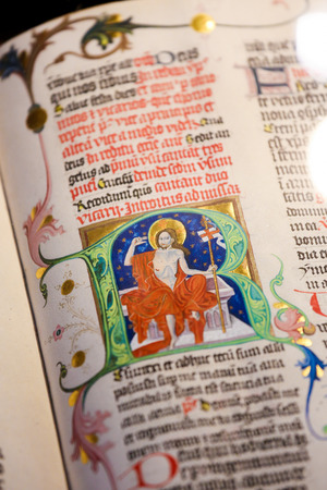 manuscript: PRAGUE, CZECH REPUBLIC - APRIL , 2016: Illuminated text depicting Jesus Christ in the Library of Prague, Czech Republic.