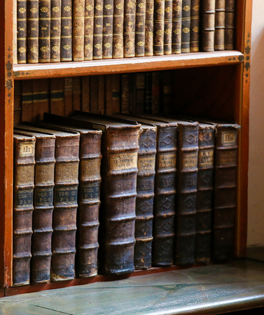 thesaurus: Antique books in the Library of Prague, Czech Republic.