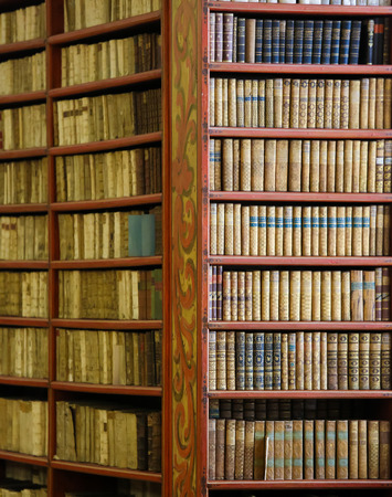 antique books: Antique books in the Library of Prague, Czech Republic.
