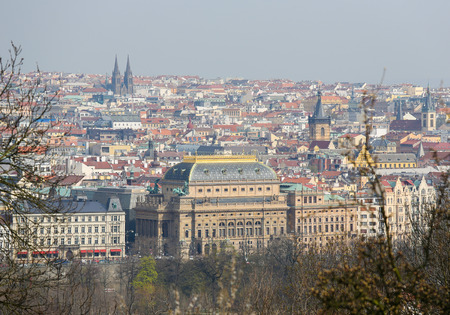 old center: View on the old center of Prague, Czech Republic, with the National Theatre Stock Photo