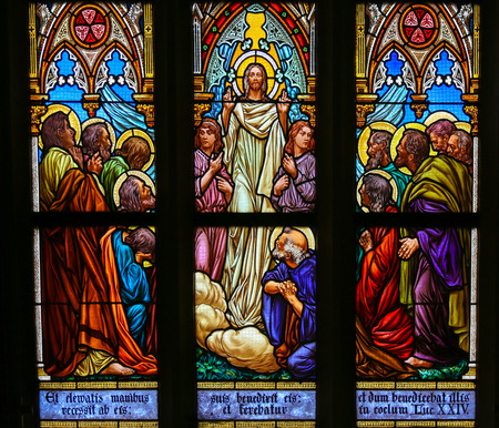 disciples: PRAGUE, CZECH REPUBLIC - APRIL 5, 2016: Stained Glass in the Basilica of Vysehrad in Prague, Czech Republic, depicting Jesus speaking to his disciples
