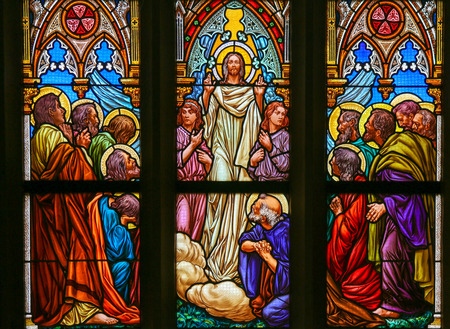preach: PRAGUE, CZECH REPUBLIC - APRIL 5, 2016: Stained Glass in the Basilica of Vysehrad in Prague, Czech Republic, depicting Jesus speaking to his disciples