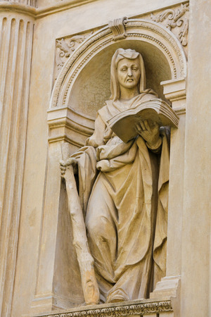 czech women: Statue at the Santa Casa of Loreta, a large pilgrimage site in Hradcany, Prague, of a Sybil, an oracular women believed to possess prophetic powers in ancient Greece Stock Photo