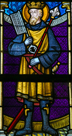 lier: LIER, BELGIUM - MAY 16, 2015: Stained Glass window in St Gummarus Church in Lier, Belgium, depicting Saint Ferdinand (1199 - 1252), King of Castile and important figure of the Reconquista