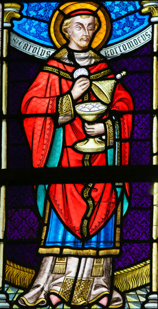 lier: LIER, BELGIUM - MAY 16, 2015: Stained Glass window in St Gummarus Church in Lier, Belgium, depicting Charles Borromeo or Carolus Borromeus (1538–1584) Editorial