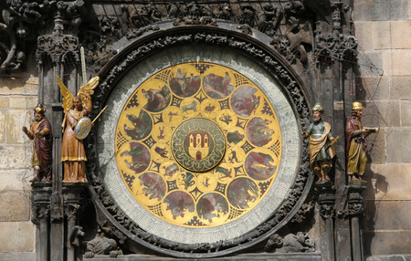 astrologer: Calendar dial with medallions representing the months, at the Prague astronomical clock or Prague orloj, a medieval astronomical clock (1410) located in Prague. Stock Photo