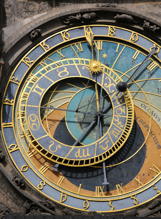 astronomical: The Prague astronomical clock or Prague orloj is a medieval astronomical clock (1410) located in Prague. Stock Photo