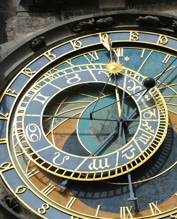 astrologer: The Prague astronomical clock or Prague orloj is a medieval astronomical clock (1410) located in Prague. Stock Photo