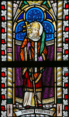 lier: LIER, BELGIUM - MAY 16, 2015: Stained Glass window in St Gummarus Church in Lier, Belgium, depicting Saint Eugene