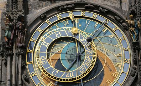 astrologer: The Prague astronomical clock or Prague orloj is a medieval astronomical clock (1410) located in Prague. Stock Photo