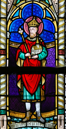 henry: LIER, BELGIUM - MAY 16, 2015: Stained Glass in St Gummarus Church in Lier, Belgium, depicting Henry II (973 - 1024), also known as Saint Henry, Holy Roman Emperor from 1014 until 1024 .