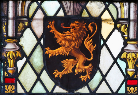 flemish: LIER, BELGIUM - MAY 16, 2015: Stained Glass window in St Gummarus Church in Lier, Belgium, depicting the Coat of Arms of Brabant in Belgium. Editorial