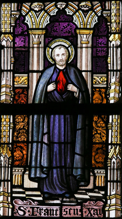 lier: LIER, BELGIUM - MAY 16, 2015: Stained Glass window in St Gummarus Church in Lier, Belgium, depicting Saint Francis Xavier (1506-1552), a Roman Catholic missionary, born in Javier, Navarre, and co-founder of the Society of Jesus. Editorial