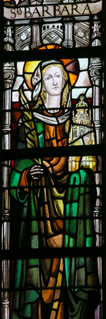 lier: LIER, BELGIUM - MAY 16, 2015: Stained Glass window in St Gummarus Church in Lier, Belgium, depicting Saint Barbara Editorial
