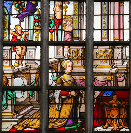lier: LIER, BELGIUM - MAY 16, 2015: Stained Glass window created in 1545 in St Gummarus Church in Lier, Belgium, depicting Elisabeth of Culemborg (1475 – 1555), great granddaughter of Philip the Good