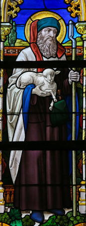 lier: LIER, BELGIUM - MAY 16, 2015: Stained Glass window in St Gummarus Church in Lier, Belgium, depicting Saint Joachim, Father of the Virgin Mary
