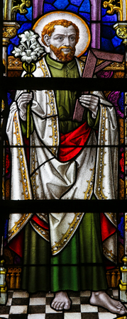 lier: LIER, BELGIUM - MAY 16, 2015: Stained Glass window in St Gummarus Church in Lier, Belgium, depicting Saint Joseph