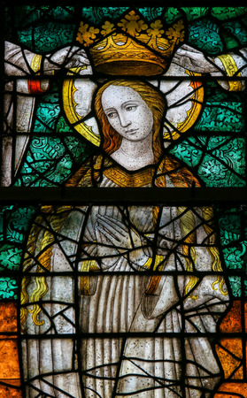 lier: LIER, BELGIUM - MAY 16, 2015: Stained Glass window (1450) in St Gummarus Church in Lier, Belgium, depicting the Coronation of Mary