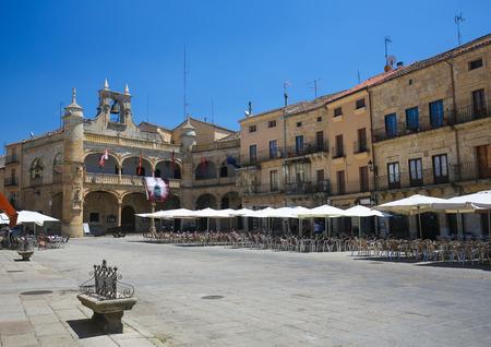 castile: CIUDAD RODRIGO, SPAIN - JULY 10, 2016: Ayuntamiento or Town Hall (16th Century) at the Plaza Mayor in Ciudad Rodrigo, a border town in Castile and Leon, Spain. Editorial