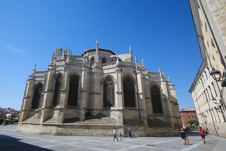 castille: PALENCIA, SPAIN - JULY 10, 2016: Palencia Cathedral (Catedral de san Antolin), popularly known as the unknown beauty, in Palencia, a city in Castile and Leon, northwest Spain