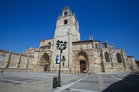 palencia province: PALENCIA, SPAIN - JULY 10, 2016: Palencia Cathedral (Catedral de san Antolin), popularly known as the unknown beauty, in Palencia, a city in Castile and Leon, northwest Spain