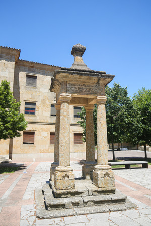 Monument at the Cathedral of Ciudad Rodrigo, a border town in Castile and Leon, Spain.