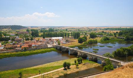 Bridge over the River Agueda in Ciudad Rodrigo, a border town in Castile and Leon, Spain.