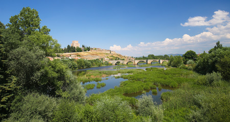 Castle of Henry II of Castile, built in the 14th century, and River Agueda in Ciudad Rodrigo, a border town in Castile and Leon, Spain.