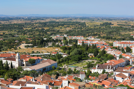 templars: View from the Templars Castle on the famous Convent and church of Graca in Castelo Branco, a city in the Centro region of Portugal.