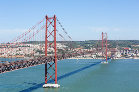 salazar: Ponte 25 de Abril across the Tagus river and view on the center of Lisbon, Portugal