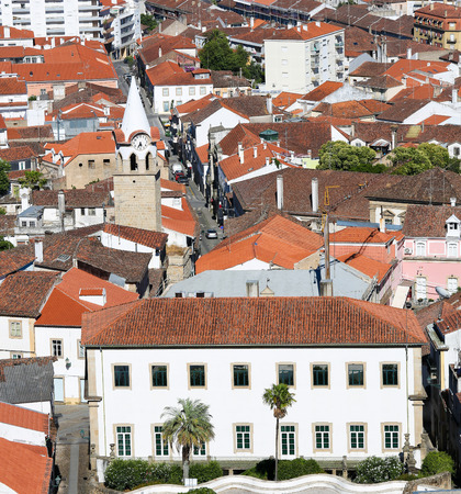 templars: View from the Templars Castle on Castelo Branco, a city in the Centro region of Portugal, with the Clock Tower. Stock Photo