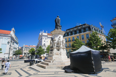 LISBON, PORTUGAL - JULY 13, 2016: Praca Luis de Camoes, named after the Portuguese poet, in Bairro Alto, a central district of Lisbon, Portugal