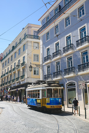 bairro: LISBON, PORTUGAL - JULY 13, 2016: A tram in Bairro Alto, a central district of Lisbon, Portugal