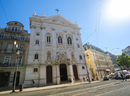bairro: LISBON, PORTUGAL - JULY 13, 2016: Church of Nossa Senhora do Loreto in Bairro Alto dsitrict, Lisbon, Portugal.