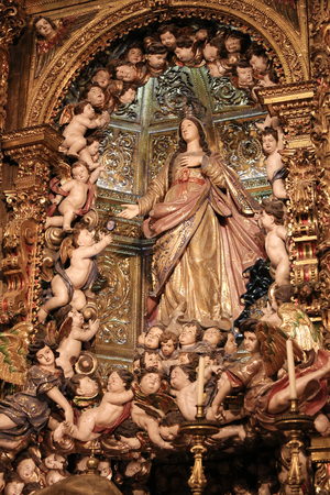 bairro: LISBON, PORTUGAL - JULY 13, 2016: Statue of Mother Mary and angels in the Church of Nossa Senhora do Loreto in Bairro Alto dsitrict, Lisbon, Portugal.