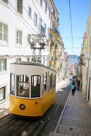 ascensor: LISBON, PORTUGAL - JULY 13, 2016: The Ascensor da Gloria in Bairro Alto, a central district of Lisbon, Portugal Editorial