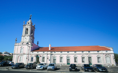 lodgings: QUELUZ, PORTUGAL - JULY 14, 2016: The Pousada of D. Maria is part of the Pousadas de Portugal network of lodgings, housed in the historical servants quarters of the Queluz National Palace.