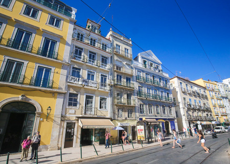 LISBON, PORTUGAL - JULY 13, 2016: Typical architecture in Bairro Alto, a central district of Lisbon, Portugal