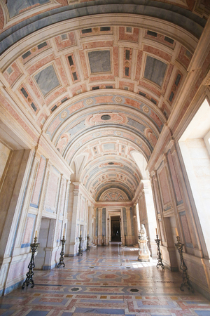 convento: MAFRA, PORTUGAL - JULY 17, 2016: Marble hallway in Mafra Palace, Portugal