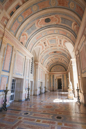 marble palace: MAFRA, PORTUGAL - JULY 17, 2016: Marble hallway in Mafra Palace, Portugal