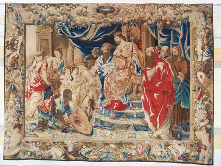 diana: MAFRA, PORTUGAL - JULY 17, 2016: Famous Tapestry depicting a Portuguese King at the Hall of Diana in Mafra Palace, Portugal