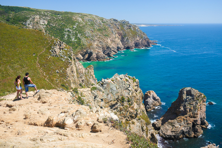 roca: SINTRA, PORTUGAL - JULY 15, 2016: Cabo da Roca is a cape located close to Lisbon which forms the westernmost extent of mainland Portugal and continental Europe. Editorial