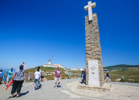 SINTRA, PORTUGAL - JULY 15, 2016: Monument declaring Cabo da Roca as the westernmost extent of continental Europe in Cabo da Roca, Portugal.