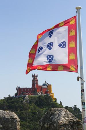 pena: SINTRA, PORTUGAL - JULY 19, 2016: The Pena Palace (Palacio da Pena) is a Romanticist castle in Sintra, Lisbon district, Portugal.