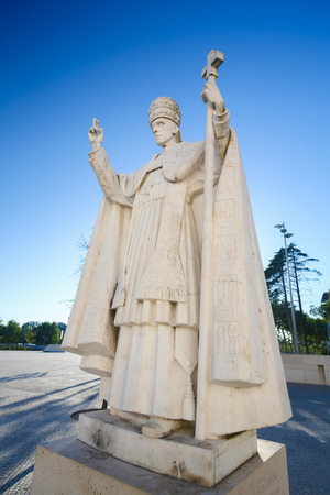FATIMA, PORTUGAL - JULY 23, 2016: Statue of Pope Pius XII (1876 - 1958) at the Sanctuary of Fatima in Portugal.